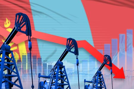 Mongolia oil industry concept, industrial illustration - lowering, falling graph on Mongolia flag background. 3D Illustration Reklamní fotografie