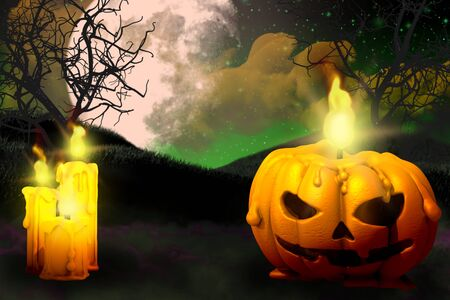 Halloween multi colored horror night texture - set of candles on left side and candle in pumpkin style on right, lanterns in the dark concept - background design template 3D illustration Stok Fotoğraf