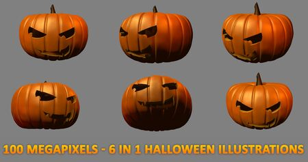 scary smiling face carved on Halloween pumpkins - 6 high resolution isolated images, large scale 3D illustration of objects