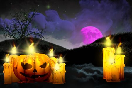 Halloween colorful scary dark backdrop - pumpkin candle on left side and many candles on right, glowing candles concept - background design template 3D illustration