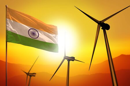 India wind energy, alternative energy environment concept with turbines and flag on sunset - alternative renewable energy - industrial illustration, 3D illustration Banco de Imagens - 131700938