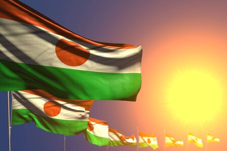 nice any feast flag 3d illustration  - many Niger flags on sunset placed diagonal with selective focus and space for text