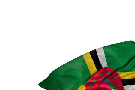 beautiful celebration flag 3d illustration  - Dominica flag with large folds lie in bottom right corner isolated on white