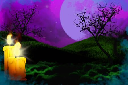Halloween colorful horror dark night backdrop - background design template 3D illustration with set of candles on left and free space on right, holiday concept Banco de Imagens