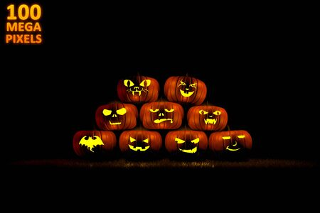 halloween concept or background - pile of 9 different carved pumpkins with fire light inside - huge resolution 3D illustration of objects Stock fotó