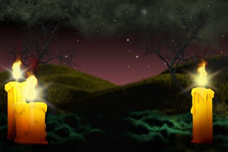 Halloween vivid creepy night mockup - background design template 3D illustration with set of candles on left and lone candle on right side, holiday concept Banco de Imagens