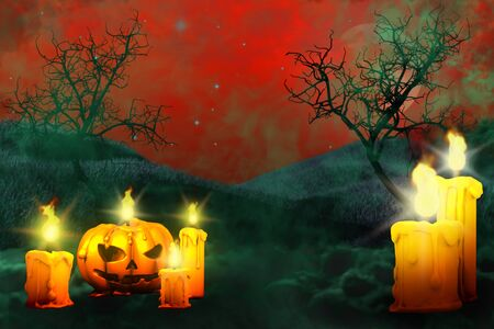 Halloween colorful scary dark night backdrop - pumpkin candle on left side and two candles on the right, holiday concept - background design template 3D illustration Stok Fotoğraf