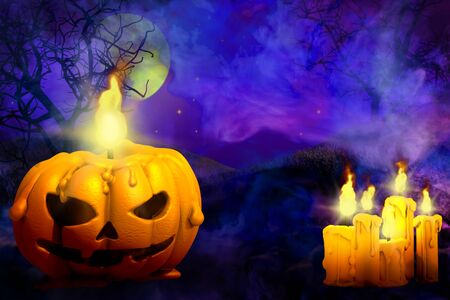 Halloween multi colored horror night mockup - pumpkin candle on left and many candles on right, trick or treat concept - background design template 3D illustration