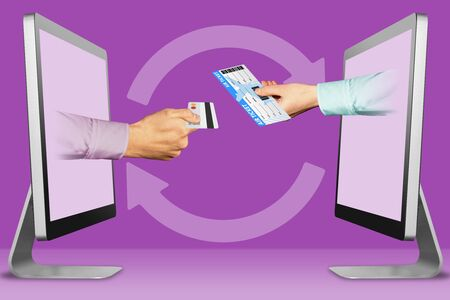 web concept, hands from monitors. hand with credit card and air ticket . 3d illustration Stock fotó