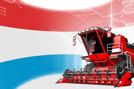 Agriculture innovation concept, red advanced farm combine harvester on Luxembourg flag - digital industrial 3D illustration