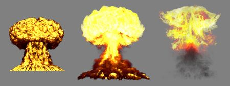 3 large very highly detailed different phases mushroom cloud explosion of thermonuclear bomb with smoke and fire isolated on grey - 3D illustration of explosion Imagens - 131704351
