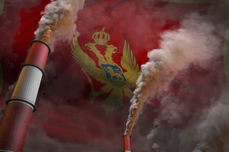 Montenegro pollution fight concept - two huge plant pipes with heavy smoke on flag background, industrial 3D illustration Stock fotó