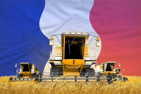 4 orange combine harvesters on farm field with flag background, France agriculture concept - industrial 3D illustration