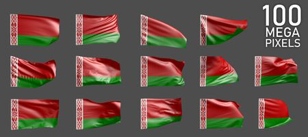 Belarus flag isolated - various images of the waving flag on grey background - object 3D illustration