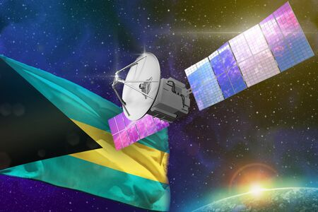 Satellite with Bahamas flag, space communications technology concept - 3D Illustration
