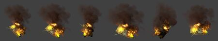 army tank with fictive design on fire wrecked in combat isolated on dark grey background, military 3D Illustration for serve and protect concept