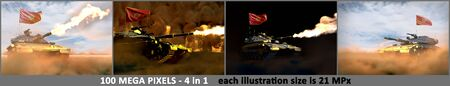 4 highly detailed illustrations of heavy tank with design that not exists and with Montenegro flag - Montenegro army concept, military 3D Illustration