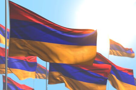 cute many Armenia flags are wave against blue sky picture with soft focus - any occasion flag 3d illustration