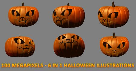 6 very high resolution isolated carved pumpkins for Halloween - cat face, 100 megapixels 3D illustration of objects Stock fotó