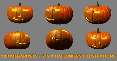 6 high resolution isolated carved pumpkins for Halloween - boss face with light inside, 100 megapixels 3D illustration of objects