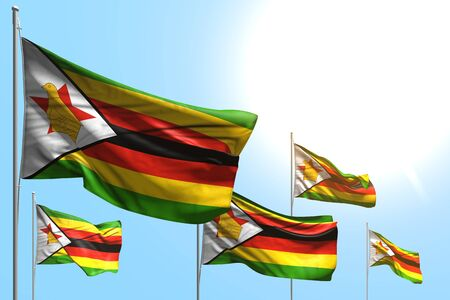 pretty national holiday flag 3d illustration  - 5 flags of Zimbabwe are wave on blue sky background