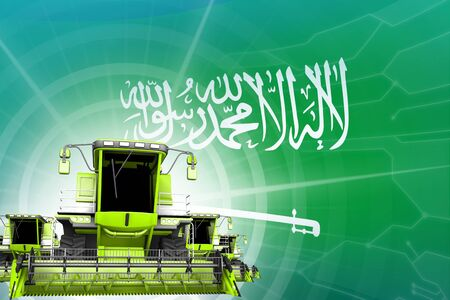 Digital industrial 3D illustration of green modern rye combine harvesters on Saudi Arabia flag, farming equipment modernisation concept Stok Fotoğraf
