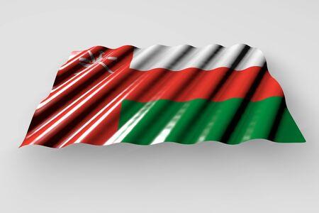 pretty shining flag of Oman with big folds lying isolated on grey - any feast flag 3d illustration Stok Fotoğraf