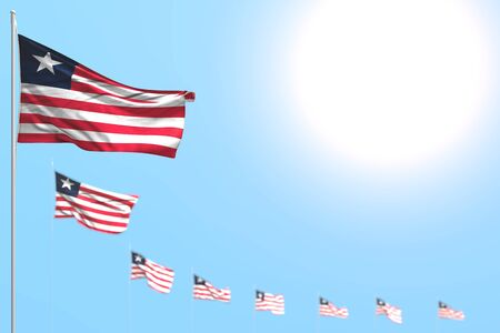 nice many Liberia flags placed diagonal with selective focus and free place for your text - any feast flag 3d illustration