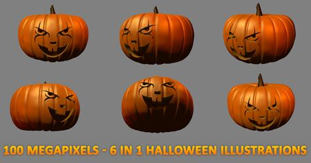scary clown carved on Halloween pumpkins - 6 detailed isolated images, large scale 3D illustration of objects