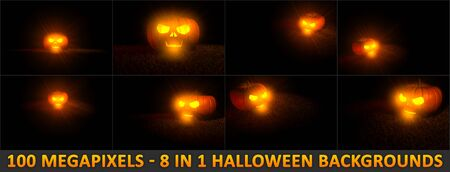 scary skull carved on Halloween pumpkin with fire light inside - 8 highly detailed backgrounds, 3D illustration of object