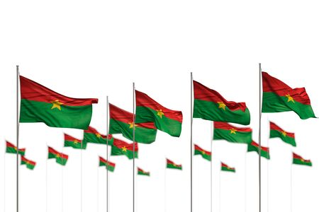 nice holiday flag 3d illustration  - Burkina Faso isolated flags placed in row with selective focus and space for content Stok Fotoğraf