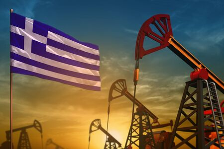 Greece oil industry concept, industrial illustration. Fluttering Greece flag and oil wells on the blue and yellow sunset sky background - 3D illustration