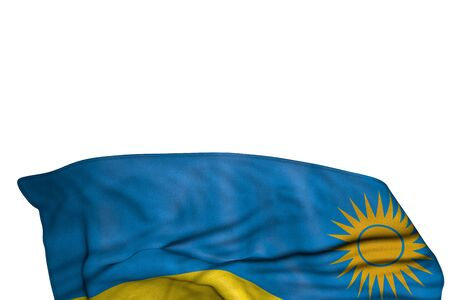 cute any feast flag 3d illustration  - Rwanda flag with large folds lying in the bottom isolated on white