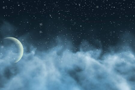 visionary smoke with moon with snowflakes creative abstract background for decorating purposes