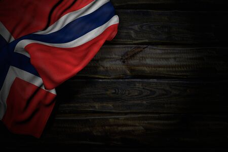 nice memorial day flag 3d illustration  - dark picture of Norway flag with big folds on old wood with free space for your content