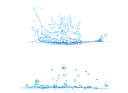 2 side views of nice water splash - 3D illustration, mockup isolated on white - creative illustration Stock fotó