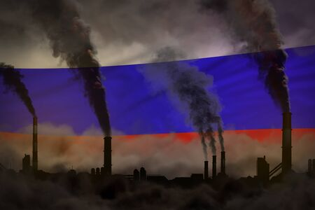 Dark pollution, fight against climate change concept - plant chimneys dense smoke on Russia flag background - industrial 3D illustration Banco de Imagens - 131734603