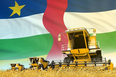 industrial 3D illustration of yellow wheat agricultural combine harvester on field with Central African Republic flag background, food industry concept Stock Photo