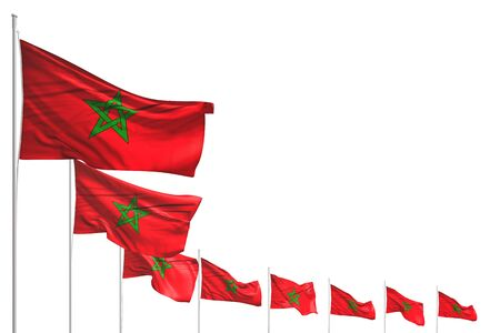 nice many Morocco flags placed diagonal isolated on white with place for content - any feast flag 3d illustration Stok Fotoğraf