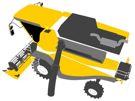industrial 3D illustration of cartoon colored 3D model of orange rural harvester with grain pipe on white, clip art for food production
