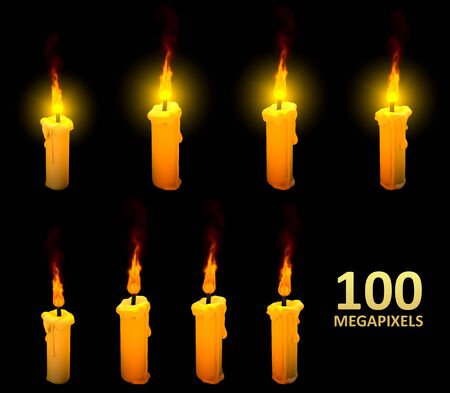 high detail yellow candles isolated on dark background, rendered with lens flare and without it - 3D illustration of object Stock fotó