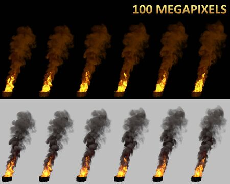 high resolution burning car tires isolated, disturbance concept - 3D illustration of object