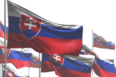 beautiful many Slovakia flags are waving isolated on white - any feast flag 3d illustration