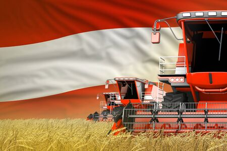 three red modern combine harvesters with Austria flag on wheat field - close view, farming concept - industrial 3D illustration
