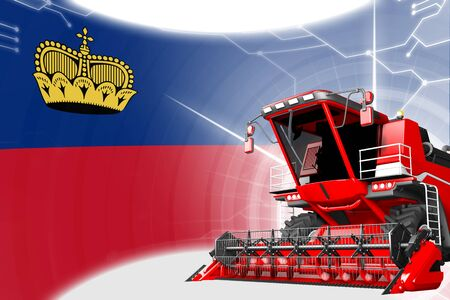 Agriculture innovation concept, red advanced grain combine harvester on Liechtenstein flag - digital industrial 3D illustration