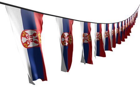 nice many Serbia flags or banners hanging diagonal with perspective view on string isolated on white - any feast flag 3d illustration