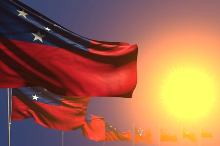 nice day of flag 3d illustration  - many Samoa flags on sunset placed diagonal with soft focus and place for your text Stok Fotoğraf