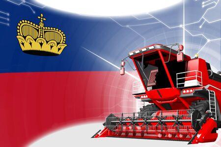 Agriculture innovation concept, red advanced grain combine harvester on Liechtenstein flag - digital industrial 3D illustration Banco de Imagens - 131945023