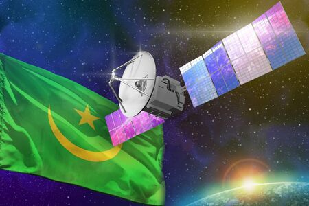 Satellite with Mauritania flag, space communications technology concept - 3D Illustration