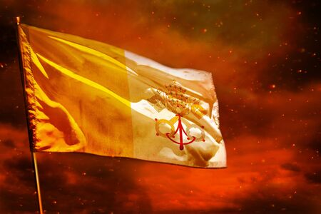 Fluttering Holy See flag on crimson red sky with smoke pillars background. Holy See problems concept.